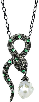 Arthur Marder Fine Jewelry Silver 7.00 Ct. Tw. Diamond, Gemstone, & 11-23Mm Pearl Necklace