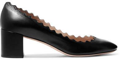 Chloé Lauren Scalloped Leather Pumps - Black