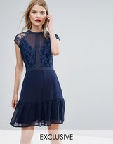 Elise Ryan Lace Contrast Mini Dress With Pep Hem