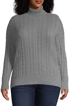 ST. JOHN'S BAY Plus Womens Turtleneck Long Sleeve Pullover Sweater