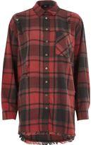 River Island Womens Red check oversized ripped hem shirt