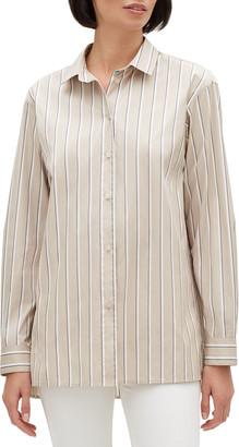 Lafayette 148 New York Everson Sierra Stripe Button-Down Long-Sleeve Blouse