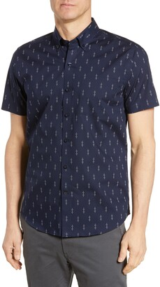 Cutter & Buck Strive Classic Fit Keyhole Print Shirt