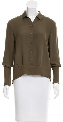 Theyskens' Theory Silk High-Low Blouse