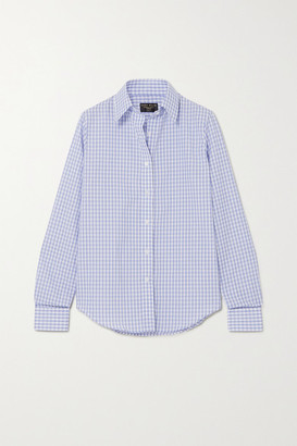 Emma Willis Gingham Cotton And Linen-blend Shirt - Navy