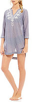 Antonio Melani Solid Embroidered Tunic Cover-Up