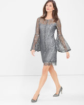 White House Black Market Metallic Lace Bell-Sleeve Shift Dress