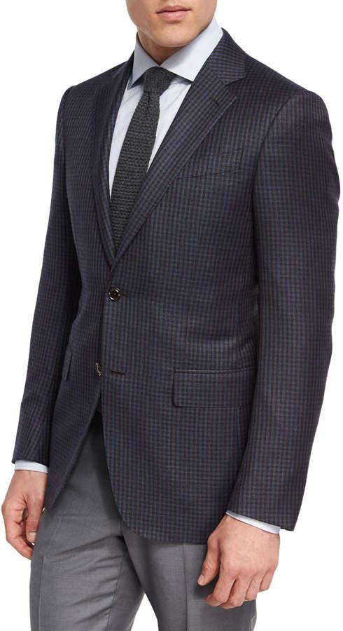 Ermenegildo Zegna Check Wool Two-Button Sport Coat, Brown/Light Blue