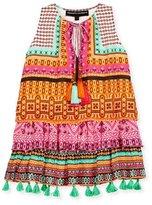 Hemant and Nandita Tiered Silk Multipattern Dress, Pink/Orange, Size 4-6