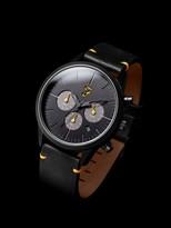 Farah Farah Black and Yellow Detail Chronograph Dial Black Leather Strap Mens Watch