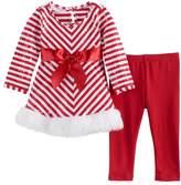 Bonnie Jean Baby Girl Striped Santa Dress & Leggings Set