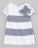 MonnaLisa Eyelet and Stripe Dress, Navy White