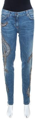 Roberto Cavalli Indigo Faded Effect Denim Embellished Jeans M