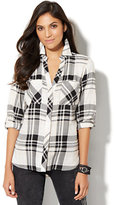 New York & Co. Soho Soft Shirt - Hi-Lo - Plaid - Black & White