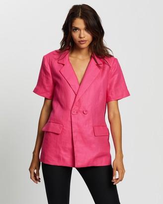 Glamorous Short Sleeve Button-Up Blazer
