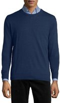 Neiman Marcus Cotton-Blend Crewneck Sweater, Navy