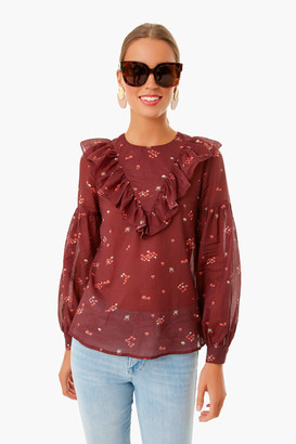Warm Burgundy Floral Francie Blouse