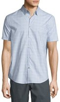 John Varvatos Wisteria Graph-Check Short-Sleeve Shirt, Pale Purple
