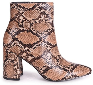 Linzi ALICE - Mocha Snake Block Heeled Boot With Pointed Toe