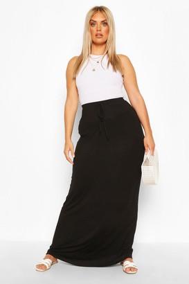 boohoo Plus Basic Tie Front Maxi Skirt