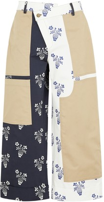 Monse Printed wide-leg stretch-cotton trousers