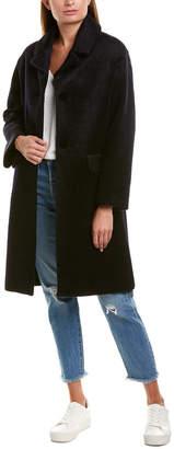 Maje Fuzzy Wool-Blend Coat