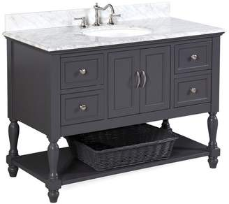 "Kitchen Bath Collection Beverly Bath Vanity, Base: Charcoal Gray, 48"", Top: Carrara Marble"