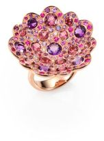 Roberto Coin Fantasia Semi-Precious Multi-Stone, Diamond & 18K Rose Gold Flower Ring