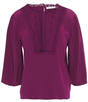 Vanessa Bruno Lace-trimmed Silk Crepe De Chine Blouse