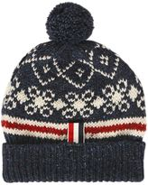 Thom Browne Wool & Mohair Knit Beanie With Pompom