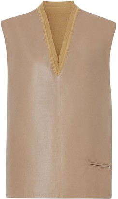 Burberry Bonded Lambskin and Wool Oversized Vest