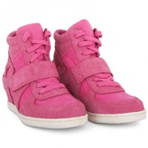 Ash Shoes Pink Suede & Canvas Wedge Sneakers