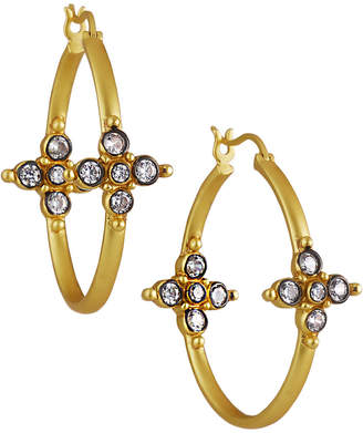 Freida Rothman Cubic Zirconia Cross Hoop Earrings