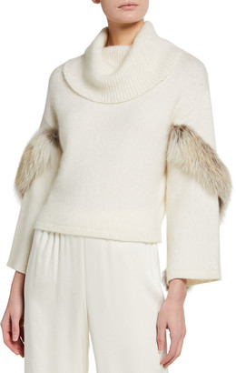 Sally LaPointe Airy Cashmere Cowl-Neck Sweater w/ Fox Fur Trim
