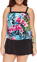 LE COVE Le Cove Floral Blouson Swimsuit Top - Plus