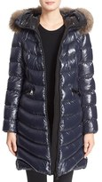 Moncler 'Aphia' Water Resistant Shiny Nylon Down Puffer Coat with Removable Genuine Fox Fur Trim