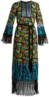 Andrew Gn Multi-print Tie-waist Silk-blend Georgette Gown - Multi