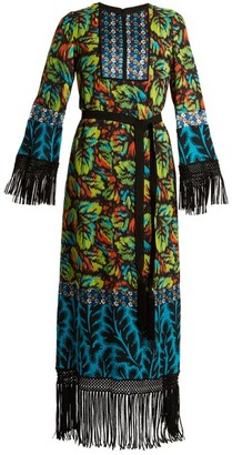 Andrew Gn Multi-print Tie-waist Silk-blend Georgette Gown - Womens - Multi
