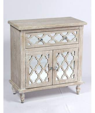 Ophelia & Co. Amanda Whitewash and Mirror 2 Doors Accent Cabinet & Co.