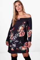 boohoo Plus Edie Floral Off Shoulder Shirt Dress
