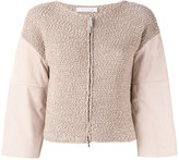 Fabiana Filippi paneled cardigan - women - Cotton/Suede/Brass - 40