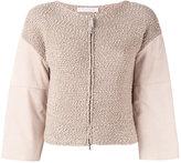 Fabiana Filippi paneled cardigan - women - Cotton/Suede/Brass - 42
