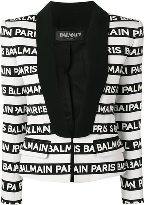 Balmain Logo Stripe Tuxedo Blazer