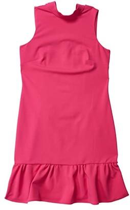 Calvin Klein High Neck Dress with Ruffle Hem (Hibiscus) Women's Dress