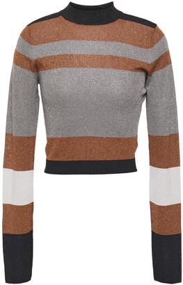 Brunello Cucinelli Cropped Metallic Striped Stretch-knit Top