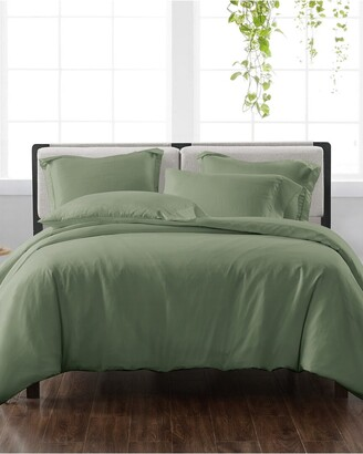 Cannon Solid Green 3Pc Duvet Cover Set