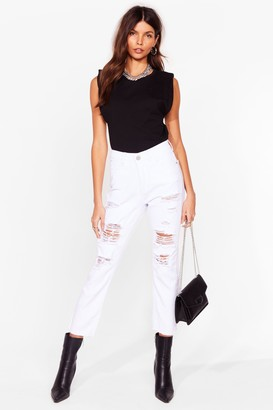 Nasty Gal Womens She's Trouble Distressed Mom Jeans - White - 6, White