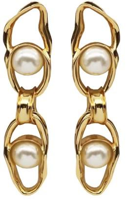 Coup De Coeur London Liquid Gold Pearl Chain Earrings