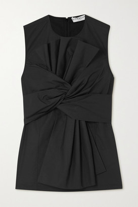Givenchy Gathered Pleated Cotton-poplin Top - Black