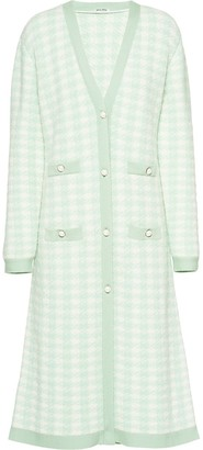 Miu Miu Boucle Long Houndstooth Cardigan